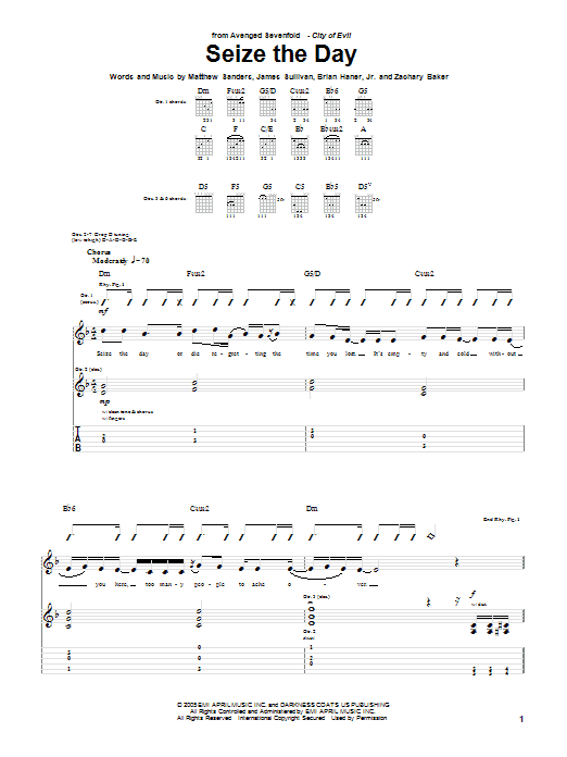 Tablature guitare Seize The Day de Avenged Sevenfold - Tablature Guitare