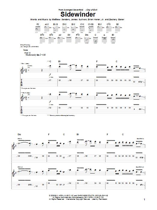 Tablature guitare Sidewinder de Avenged Sevenfold - Tablature Guitare