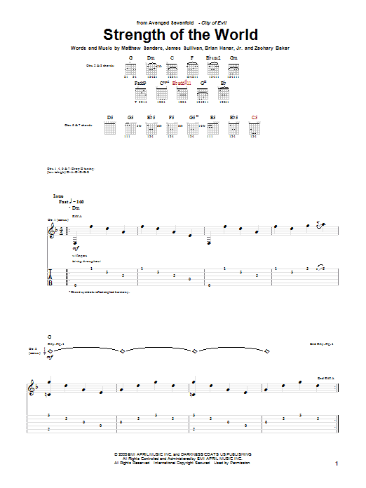 Tablature guitare Strength Of The World de Avenged Sevenfold - Tablature Guitare