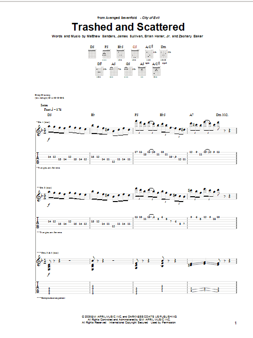 Tablature guitare Trashed And Scattered de Avenged Sevenfold - Tablature Guitare