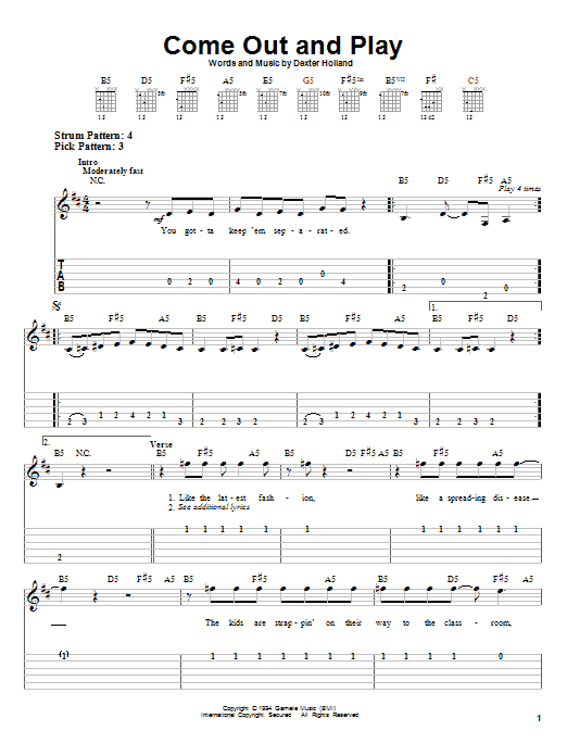 Tablature guitare Come Out And Play de The Offspring - Tablature guitare facile