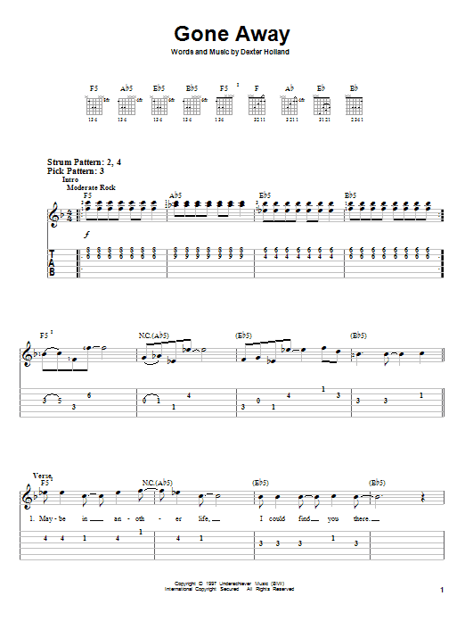 Gone Away sheet music for guitar solo (easy tablature) by Dexter Holland