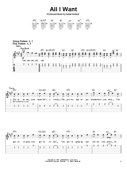 All I Want sheet music for guitar solo (easy tablature) by Dexter Holland