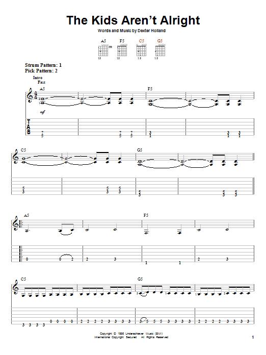 Tablature guitare The Kids Aren't Alright de The Offspring - Tablature guitare facile