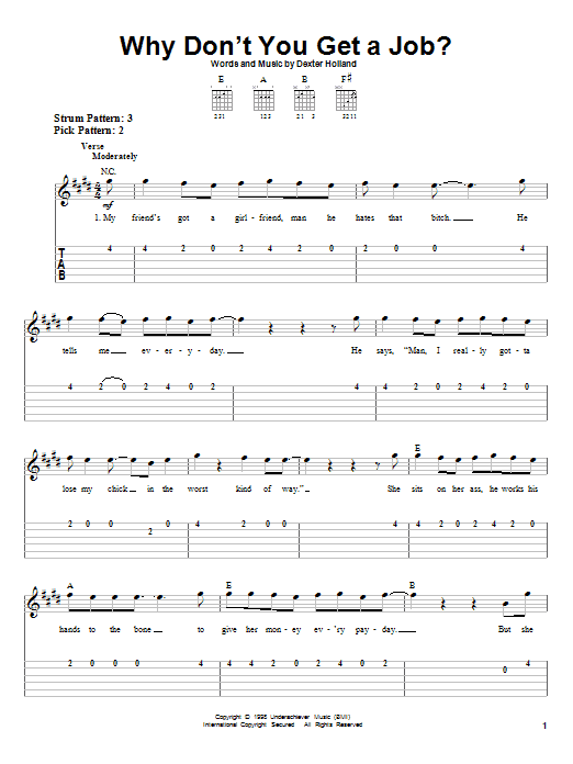 Tablature guitare Why Don't You Get A Job? de The Offspring - Tablature guitare facile