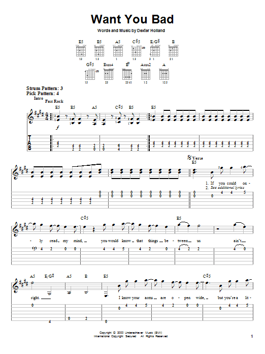 Tablature guitare Want You Bad de The Offspring - Tablature guitare facile