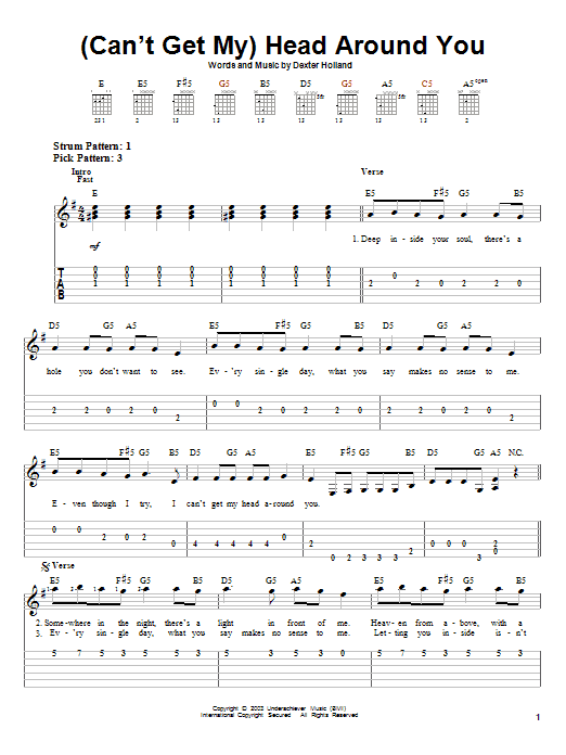 (Can't Get My) Head Around You sheet music for guitar solo (easy tablature) by Dexter Holland