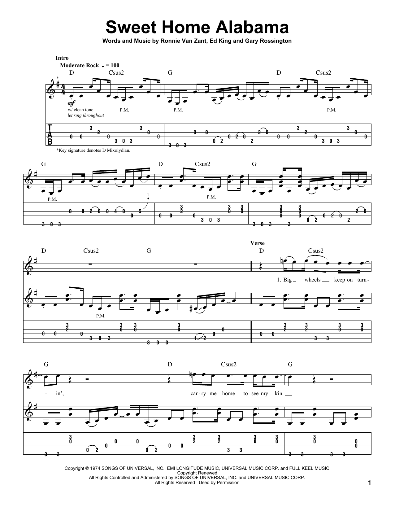 Sweet Home Alabama by Lynyrd Skynyrd - Guitar Tab Play-Along - Guitar Instructor