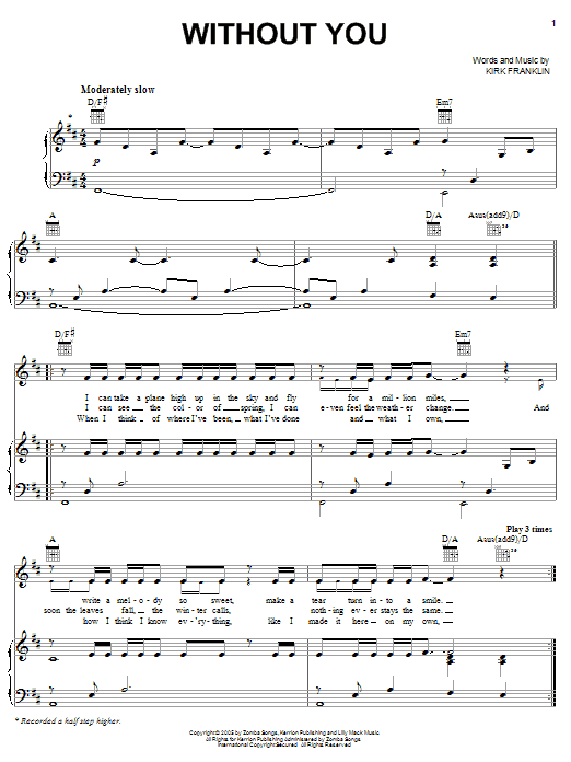 Without You sheet music for voice, piano or guitar by Kirk Franklin