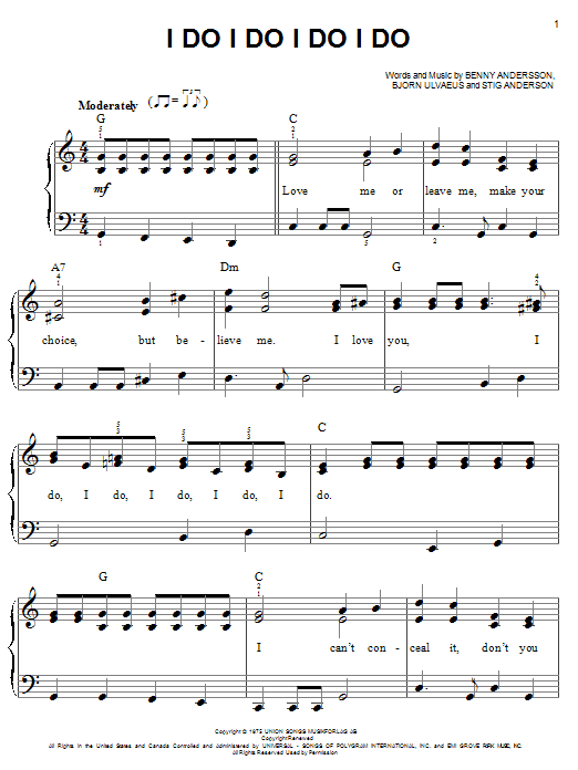 I Do, I Do, I Do, I Do, I Do sheet music for piano solo (chords) by Stig Anderson