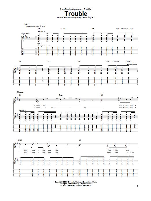 Tablature guitare Trouble de Ray LaMontagne - Tablature Guitare