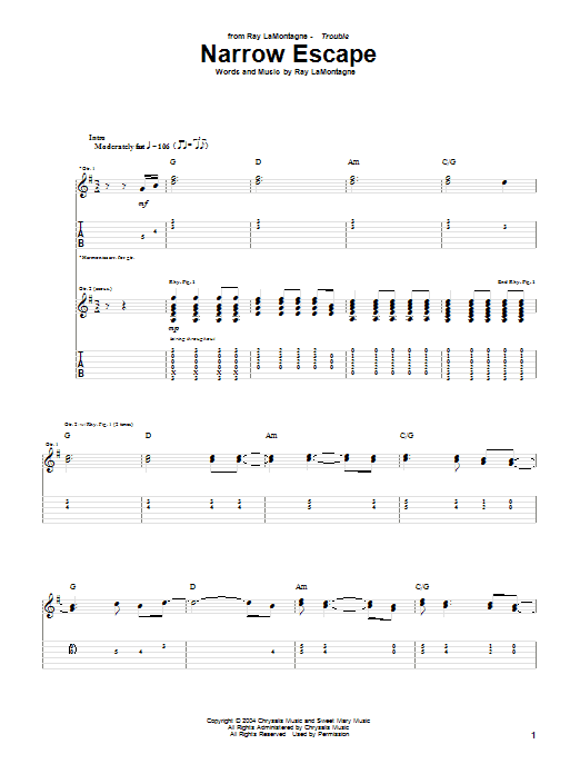 Tablature guitare Narrow Escape de Ray LaMontagne - Tablature Guitare