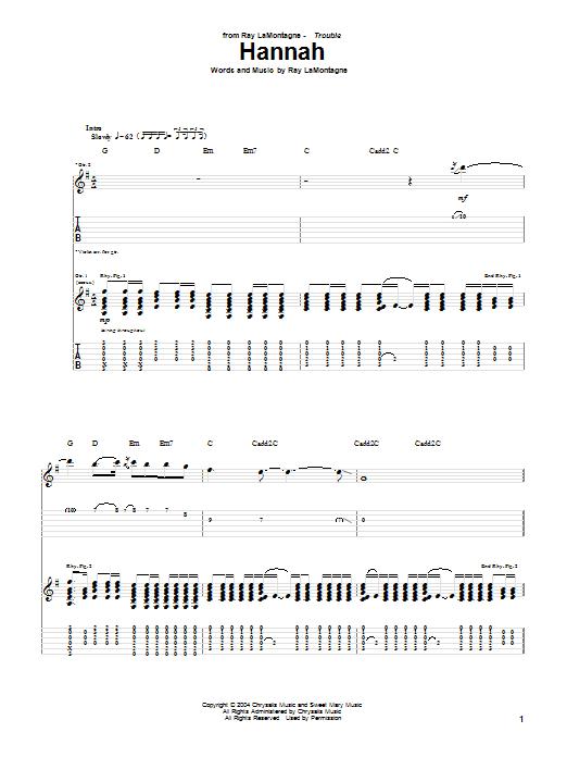 Tablature guitare Hannah de Ray LaMontagne - Tablature Guitare