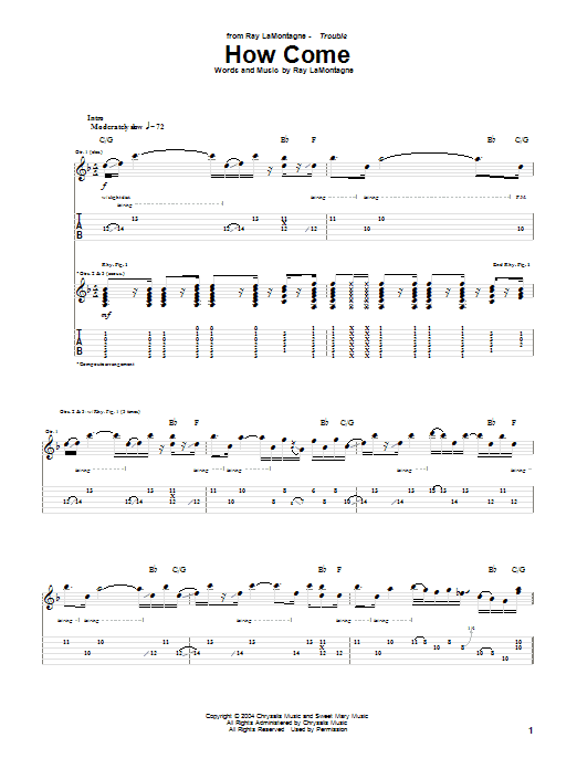 Tablature guitare How Come de Ray LaMontagne - Tablature Guitare