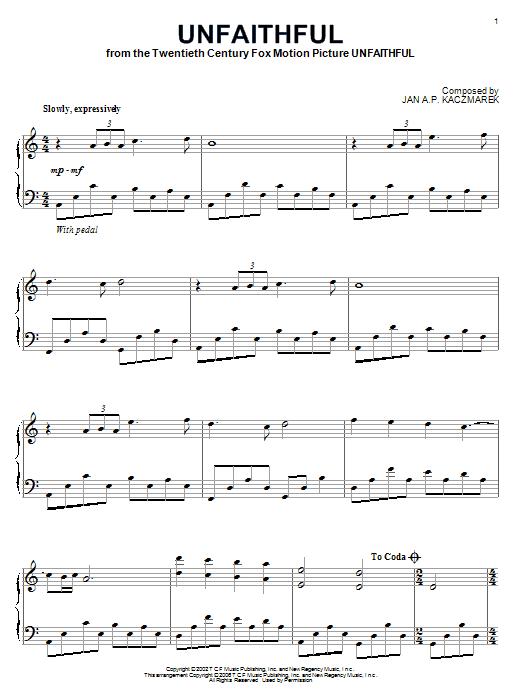 partition piano unfaithful