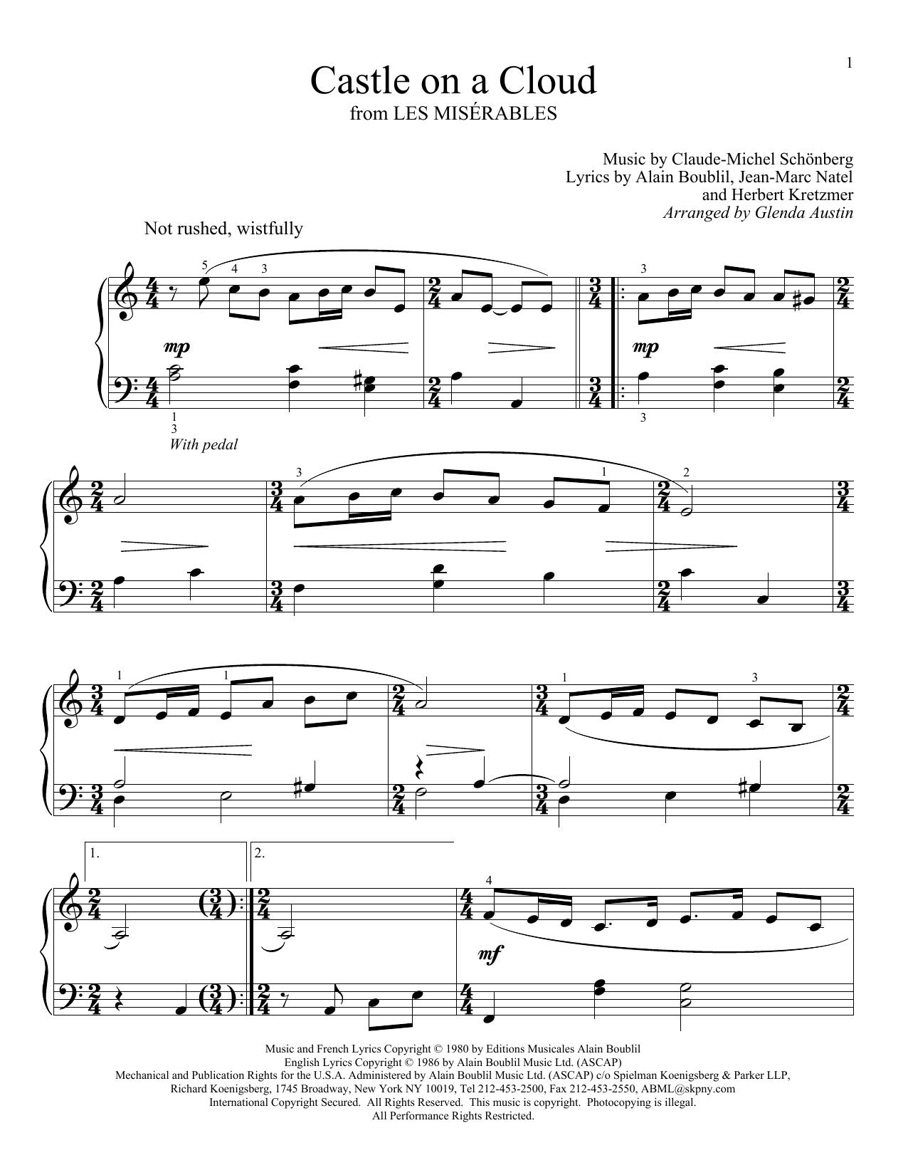 Partition piano Castle On A Cloud (from Les Miserables) de Claude-Michel Schonberg - Piano Facile
