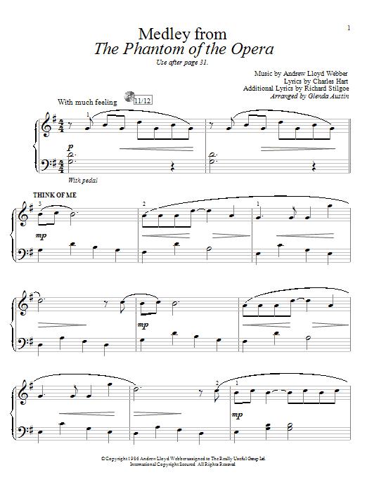 Partition piano Think Of Me de Glenda Austin - Piano Facile