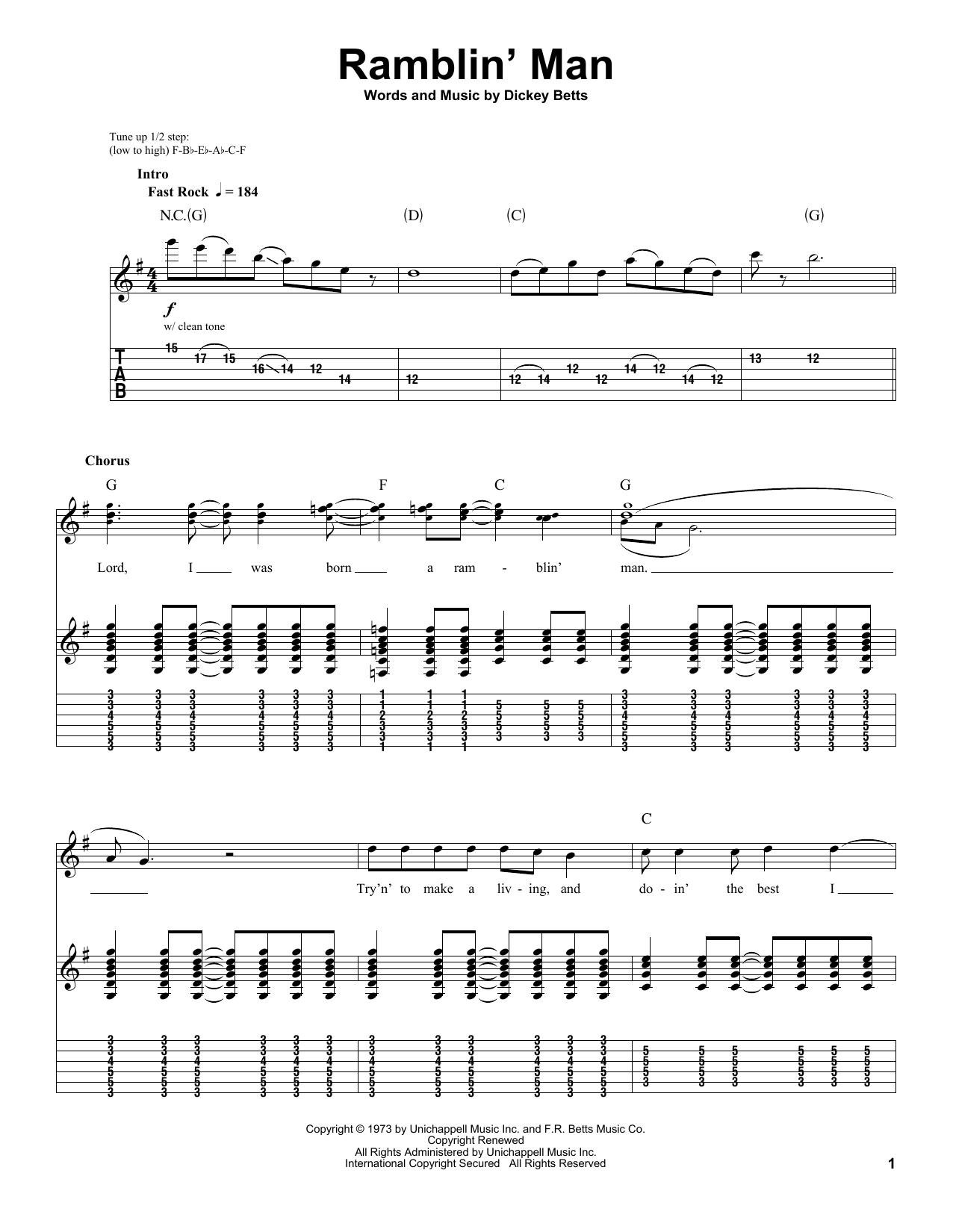Tablature guitare Ramblin' Man de The Allman Brothers Band - Tablature Guitare