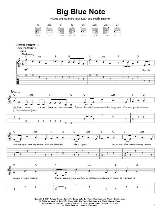 Tablature guitare Big Blue Note de Toby Keith - Tablature guitare facile