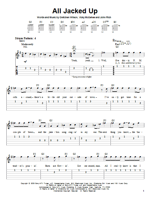 Tablature guitare All Jacked Up de Gretchen Wilson - Tablature guitare facile