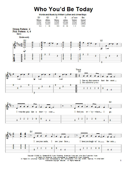 Tablature guitare Who You'd Be Today de Kenny Chesney - Tablature guitare facile