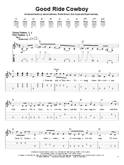 Tablature guitare Good Ride Cowboy de Garth Brooks - Tablature guitare facile