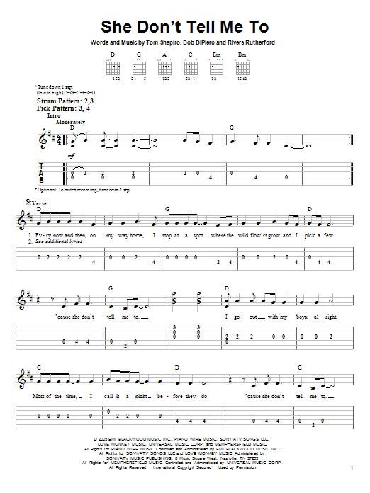 Tablature guitare She Don't Tell Me To de Montgomery Gentry - Tablature guitare facile
