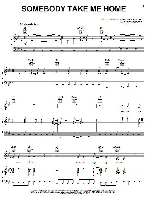 Somebody Take Me Home sheet music for voice, piano or guitar by Randy Rogers