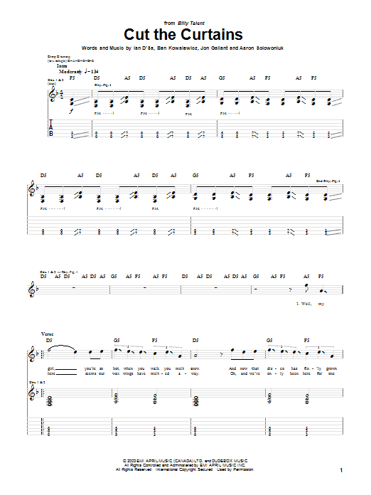 Tablature guitare Cut The Curtains de Billy Talent - Tablature Guitare