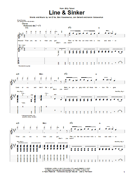 Tablature guitare Line & Sinker de Billy Talent - Tablature Guitare