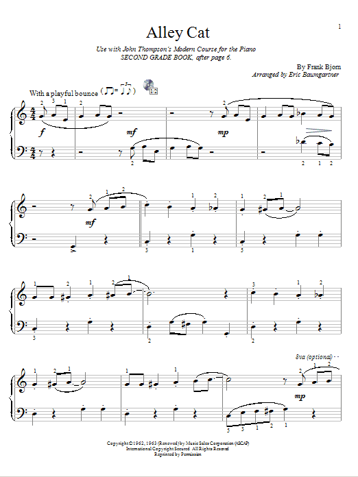 Alley Cat sheet music for piano solo (elementary) by Frank Bjorn
