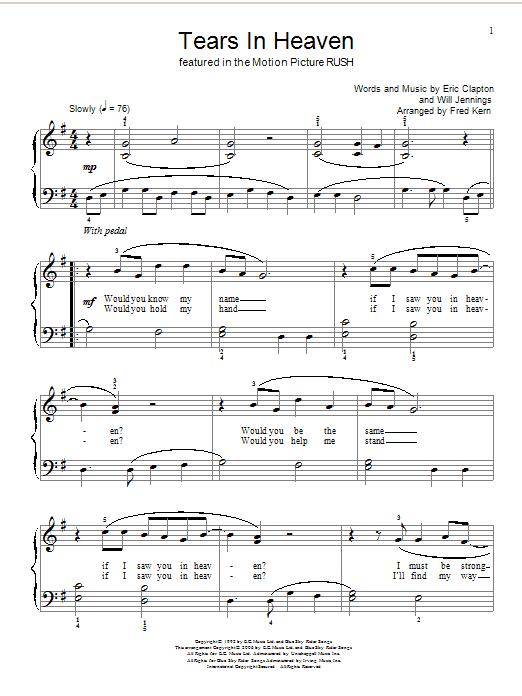 Partition piano Tears In Heaven de Eric Clapton - Piano Facile