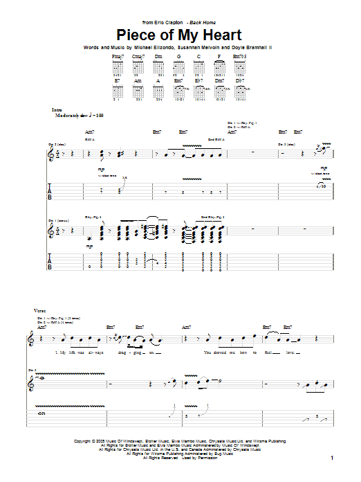 Tablature guitare Piece Of My Heart de Eric Clapton - Tablature Guitare