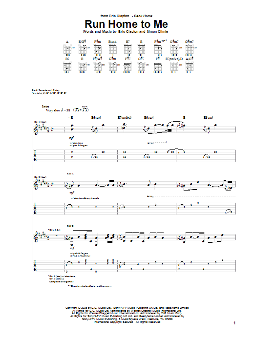 Run Home To Me sheet music for guitar solo (tablature) by Simon Climie