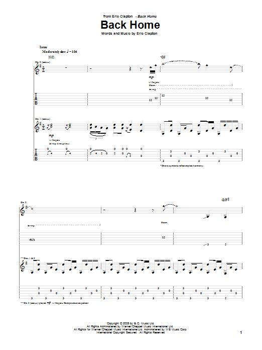 Tablature guitare Back Home de Eric Clapton - Tablature Guitare