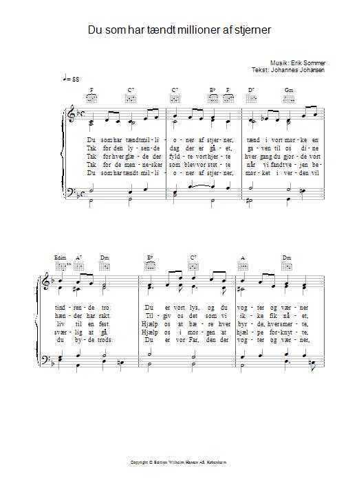Du Som Har Taendt Millioner Af Stjerner sheet music for voice, piano or guitar by Johannes Johansen
