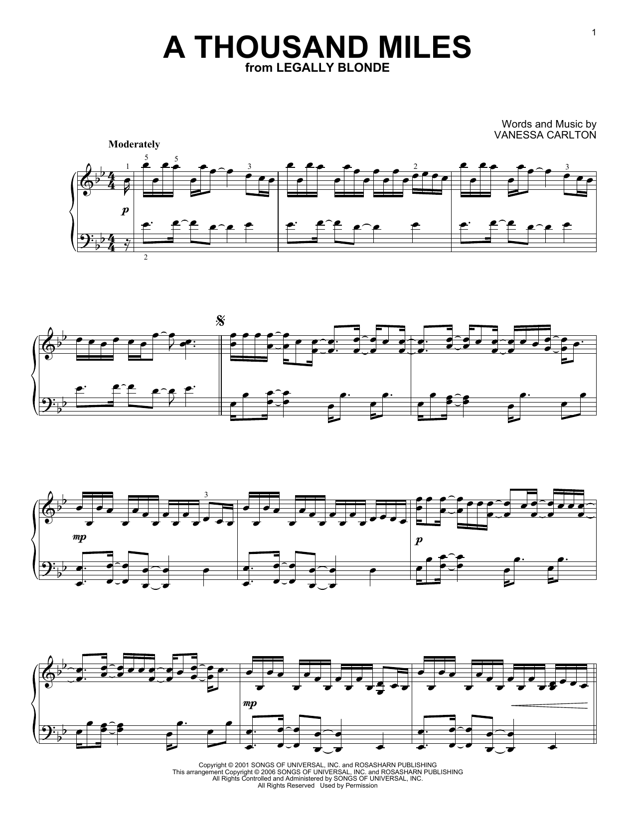 Partition piano A Thousand Miles de Vanessa Carlton - Piano Solo