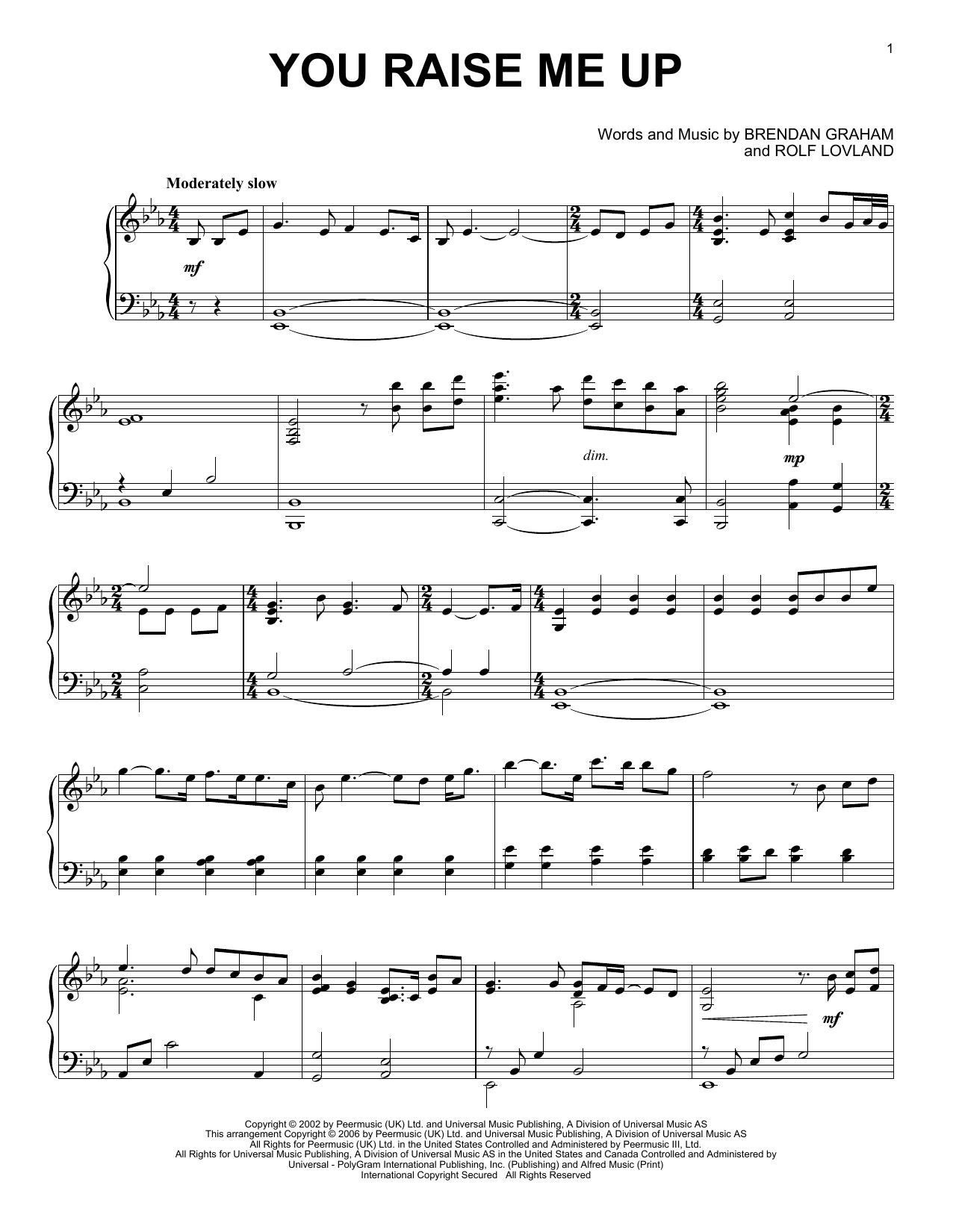 Partition piano You Raise Me Up de Josh Groban - Piano Solo