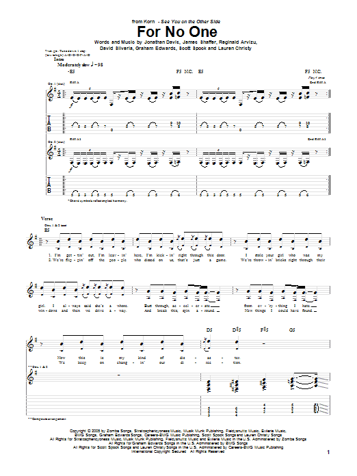 For No One sheet music for guitar solo (tablature) by Scott Spock