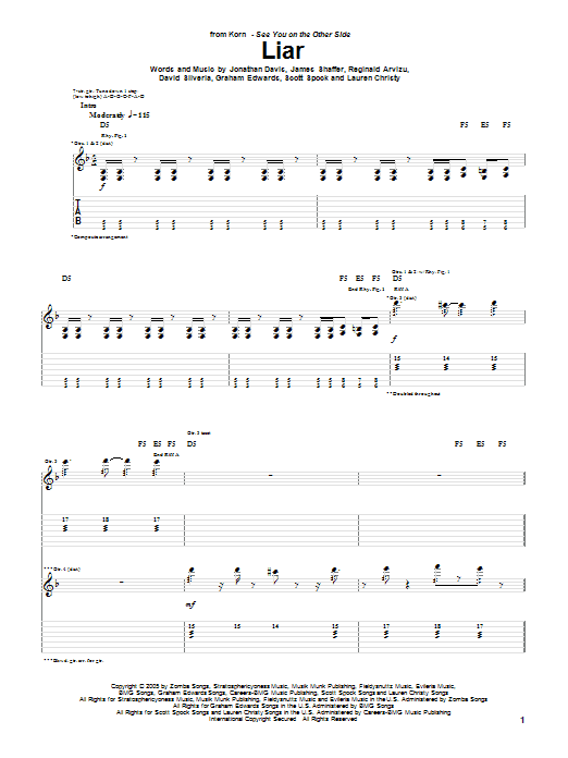 Tablature guitare Liar de Korn - Tablature Guitare