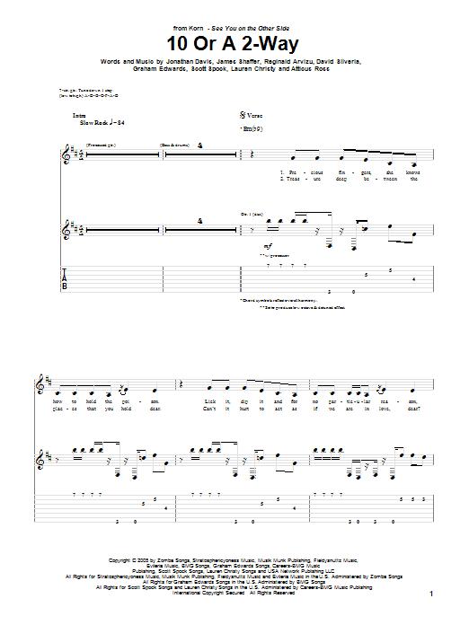 Tablature guitare 10 Or A 2-Way de Korn - Tablature Guitare