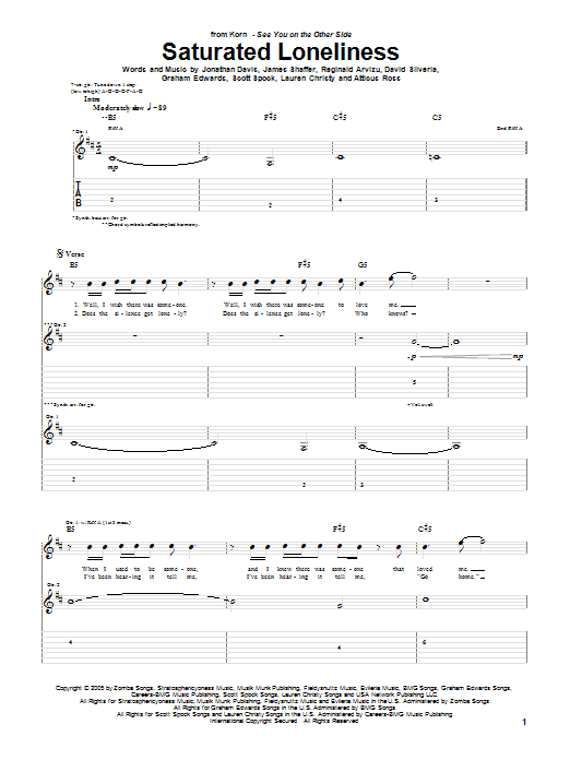 Saturated Loneliness sheet music for guitar solo (tablature) by Scott Spock