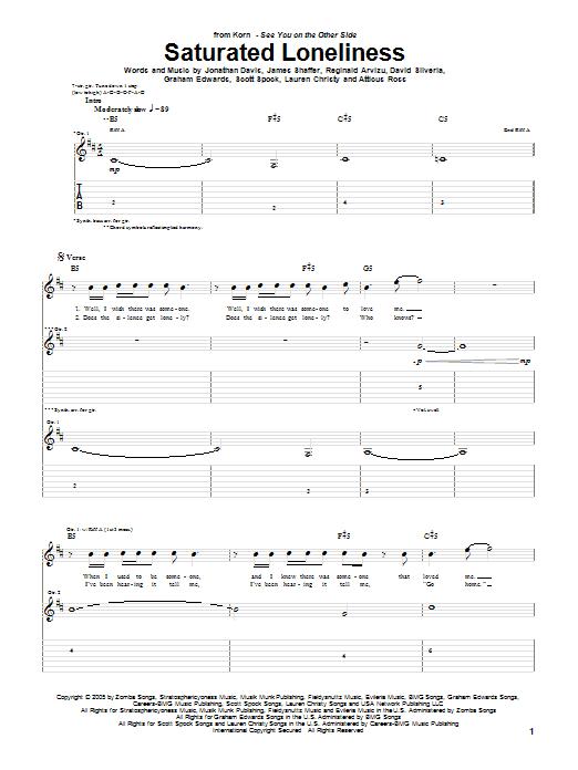 Tablature guitare Saturated Loneliness de Korn - Tablature Guitare