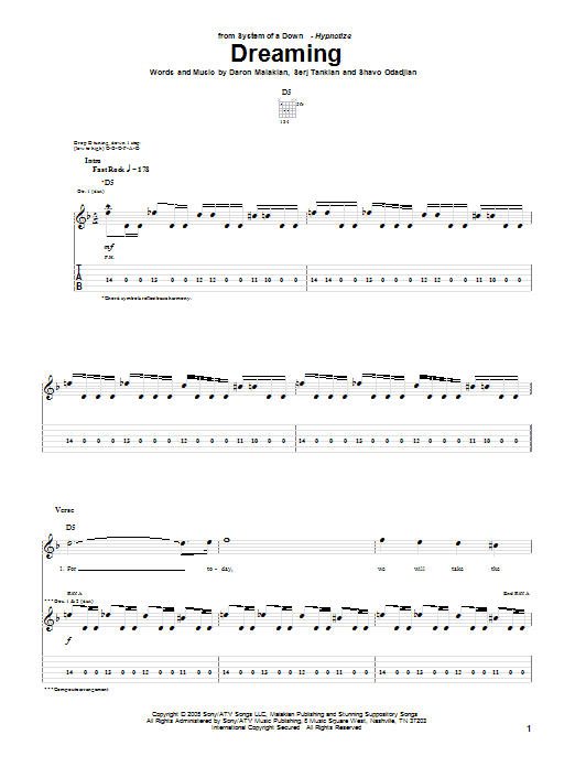 Tablature guitare Dreaming de System Of A Down - Tablature Guitare