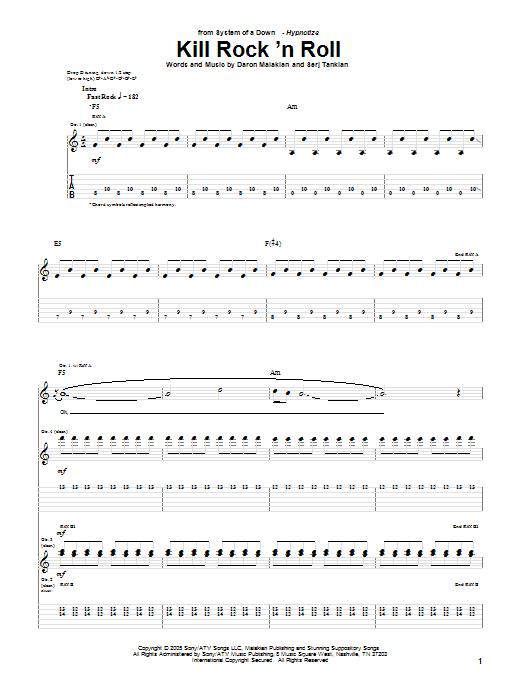 Tablature guitare Kill Rock 'N Roll de System Of A Down - Tablature Guitare