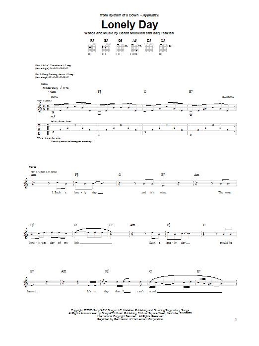 Tablature guitare Lonely Day de System Of A Down - Tablature Guitare
