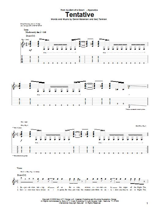 Tablature guitare Tentative de System Of A Down - Tablature Guitare