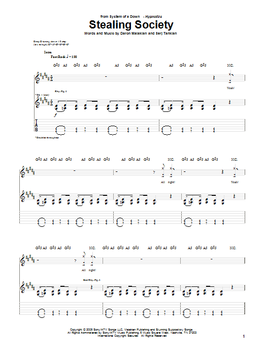 Tablature guitare Stealing Society de System Of A Down - Tablature Guitare