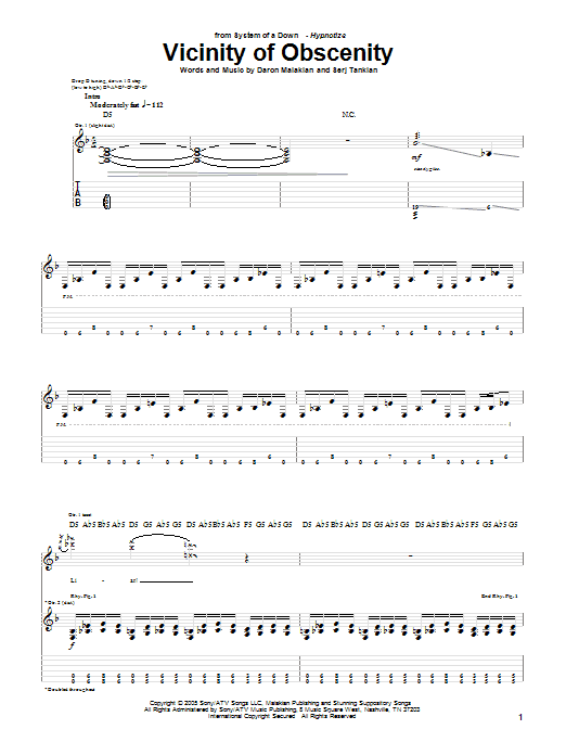 Tablature guitare Vicinity Of Obscenity de System Of A Down - Tablature Guitare