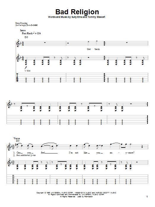 Bad Religion sheet music for guitar solo (tablature, play-along) by Tommy Stewart